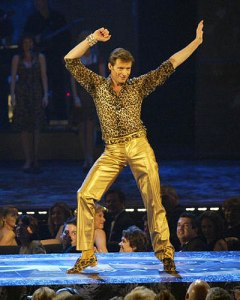 "Yep, that's old Hugh Jackman in a number from ""The Boy from Oz."" Do you want to tell Wolverine that musicals are bad?"