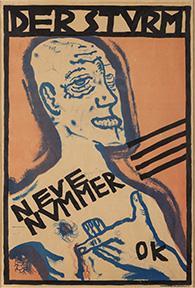 """Poster with Self-Portrait for Der Sturm magazine"" by Oskar Kokoschka"