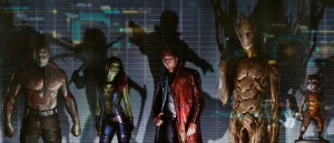 The Guardians of the Galaxy, Drax, left, Gamora, Star-Lord, Groot and Rocket.