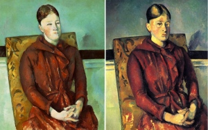 Two paintings of Madame Cezanne in a red dress by Paul Cezanne