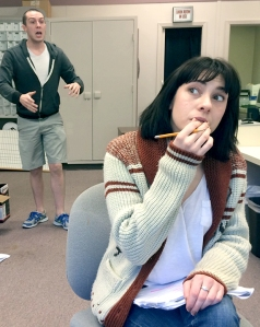 "Matthew Phillips and Jade Oliver rehearse a scene from ""Authorial Intent,"" part of the collection ""Love/Stories"" by Itamar Moses. Divergent Theater will present the play, Feb. 13 and 14 at the Beaumont Club."