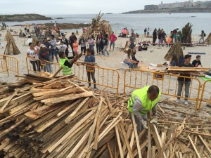 The city supplies wood for the beach bonfires.