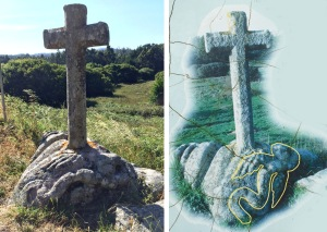 The Serpent Rock, near Corme-Aldea, commemorates St. Adrian driving the snakes out of the region. The image om the right diagrams the winged snake that led the way.